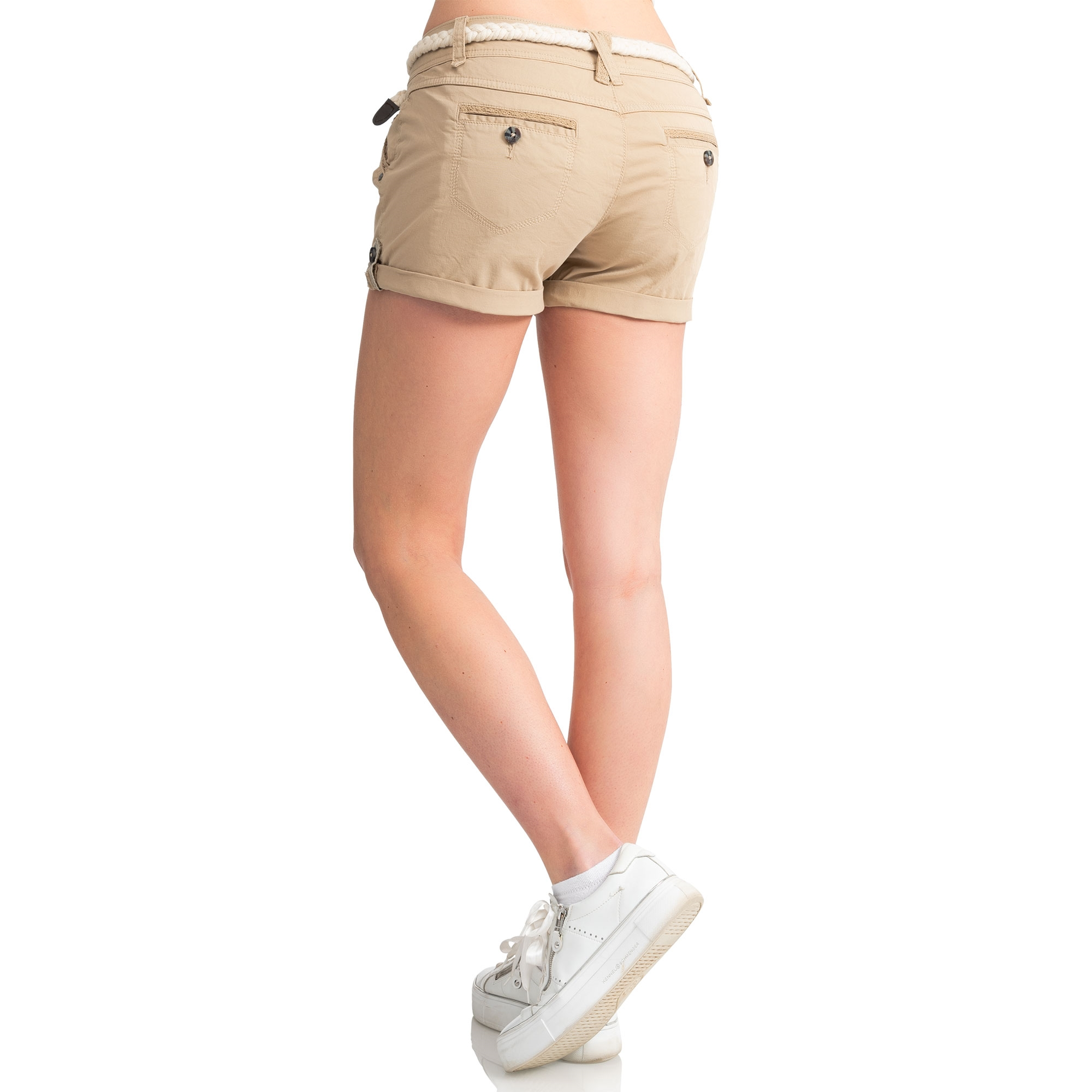 Indexbild 23 - Eight2Nine Damen Chino Bermuda Stretch Shorts mit Flecht Gürtel Hotpants