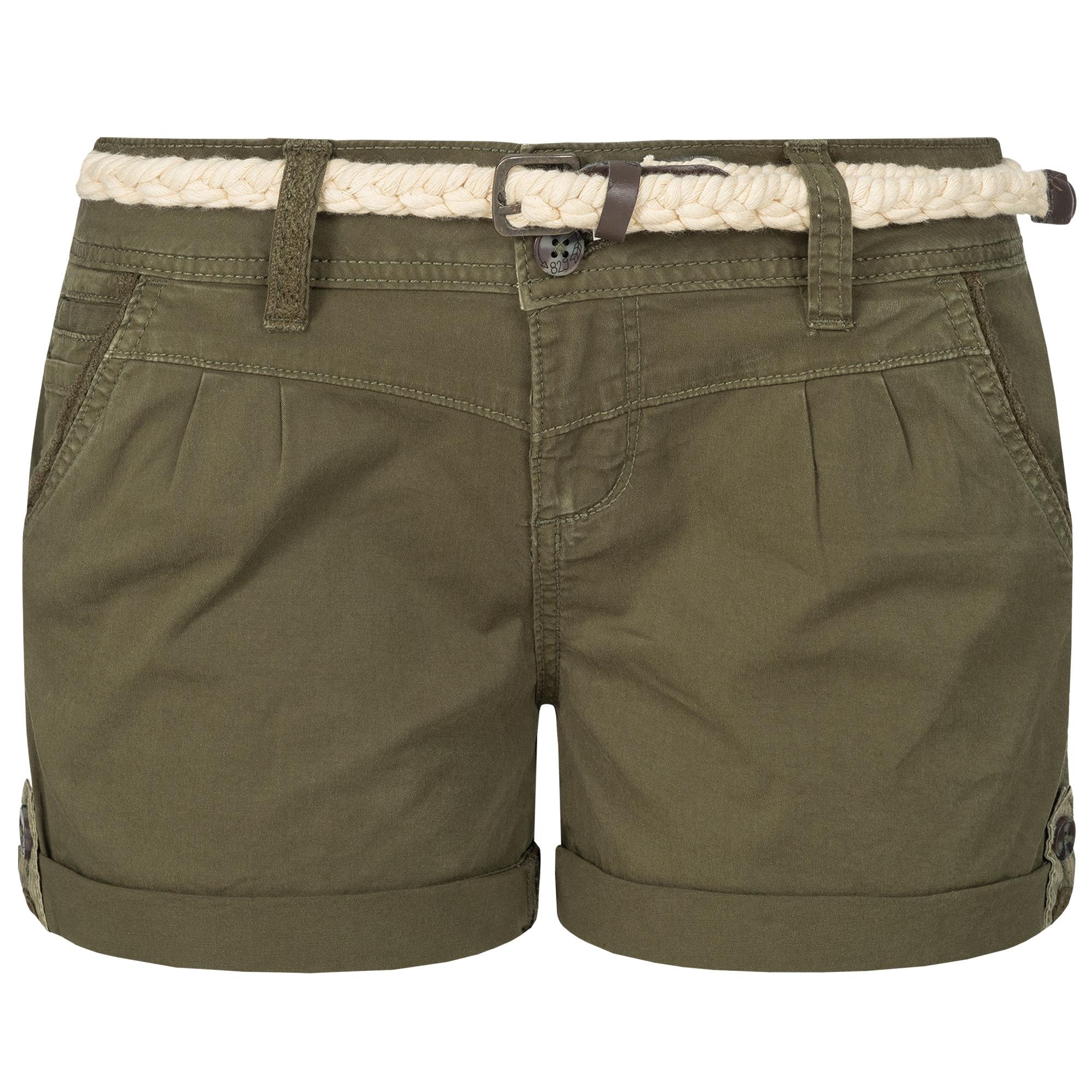 Indexbild 19 - Eight2Nine Damen Chino Bermuda Stretch Shorts mit Flecht Gürtel Hotpants