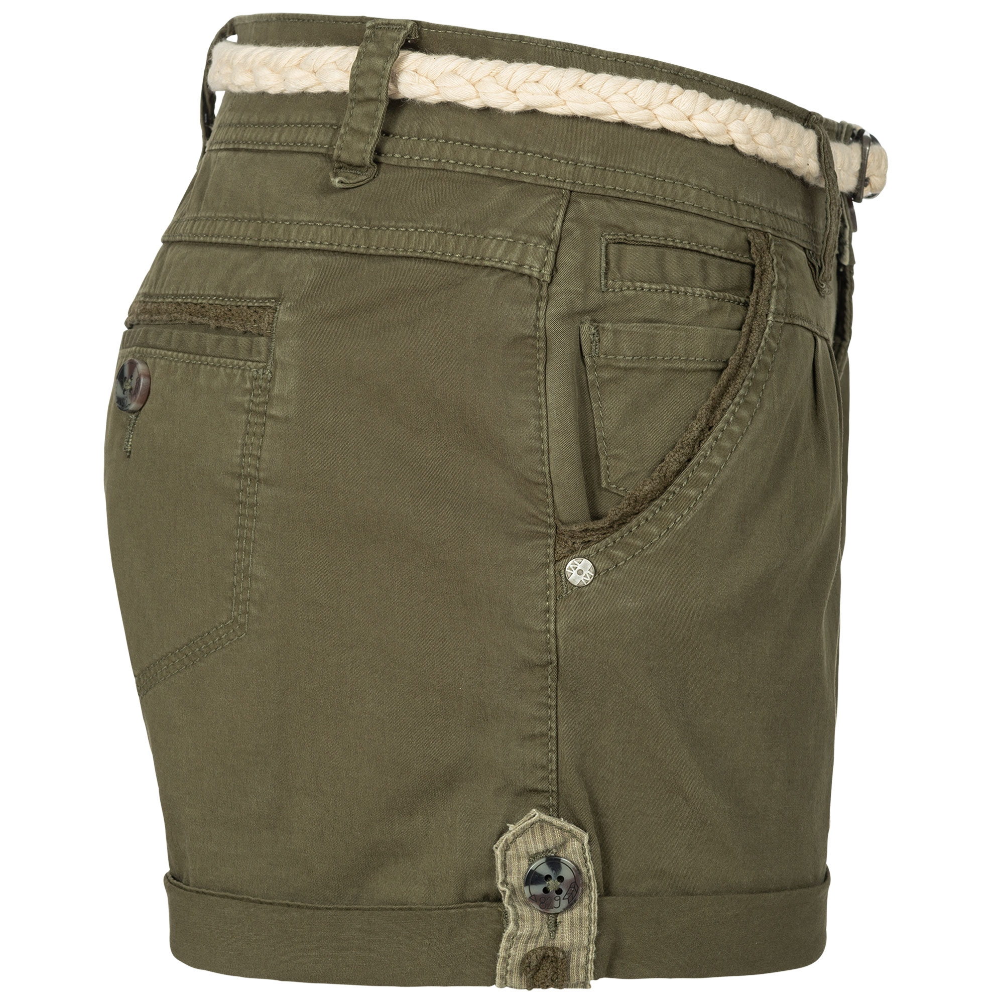 Indexbild 21 - Eight2Nine Damen Chino Bermuda Stretch Shorts mit Flecht Gürtel Hotpants
