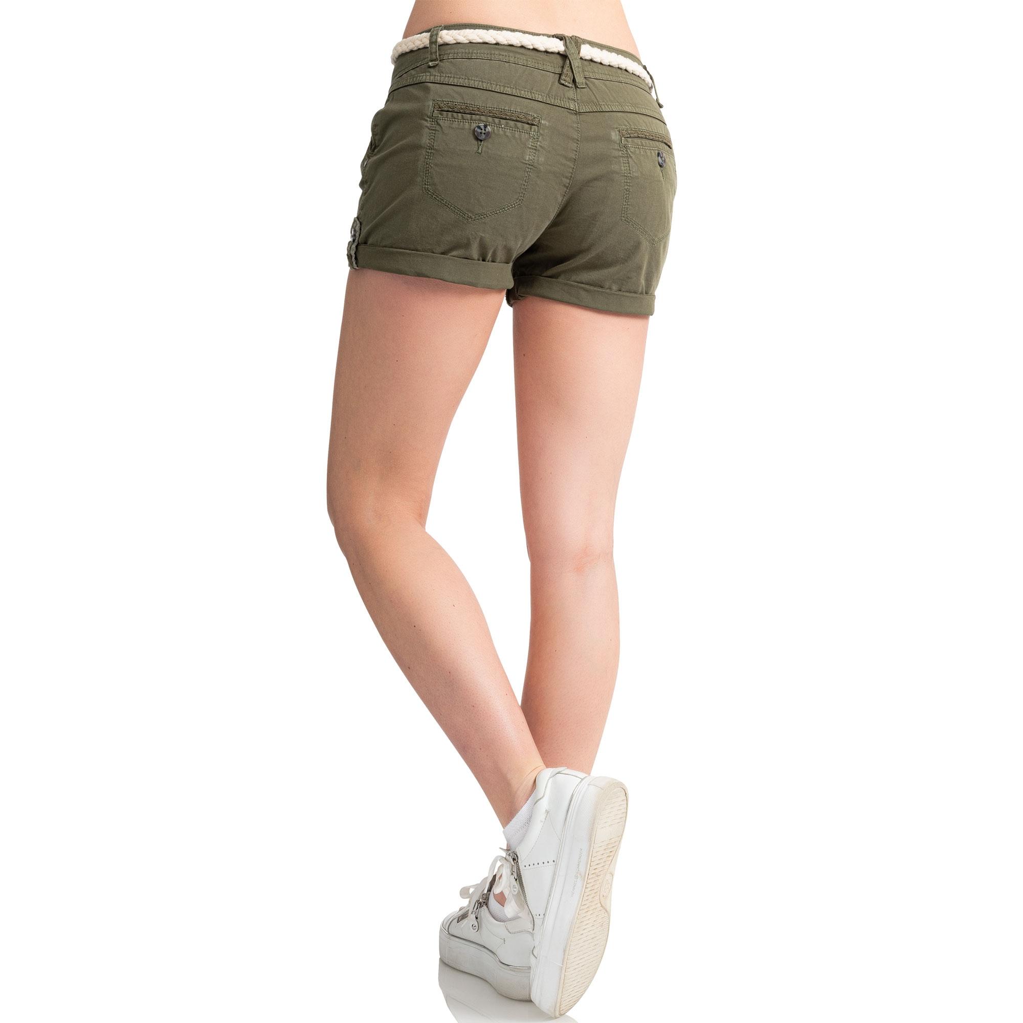Indexbild 18 - Eight2Nine Damen Chino Bermuda Stretch Shorts mit Flecht Gürtel Hotpants