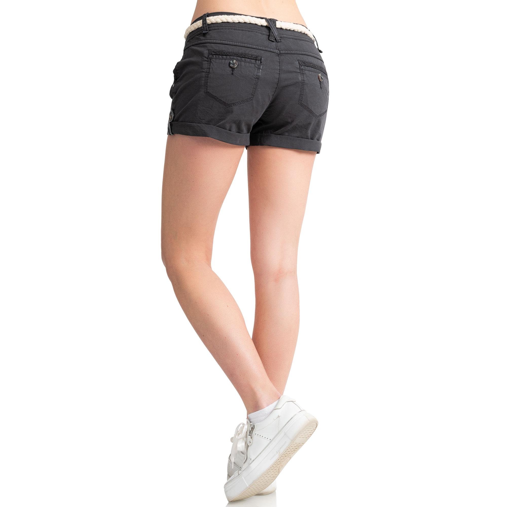 Indexbild 3 - Eight2Nine Damen Chino Bermuda Stretch Shorts mit Flecht Gürtel Hotpants
