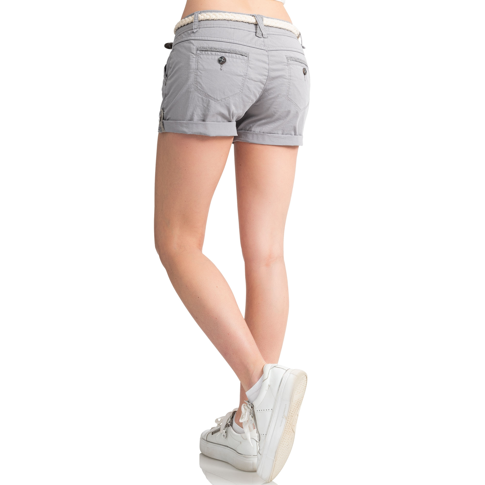 Indexbild 13 - Eight2Nine Damen Chino Bermuda Stretch Shorts mit Flecht Gürtel Hotpants