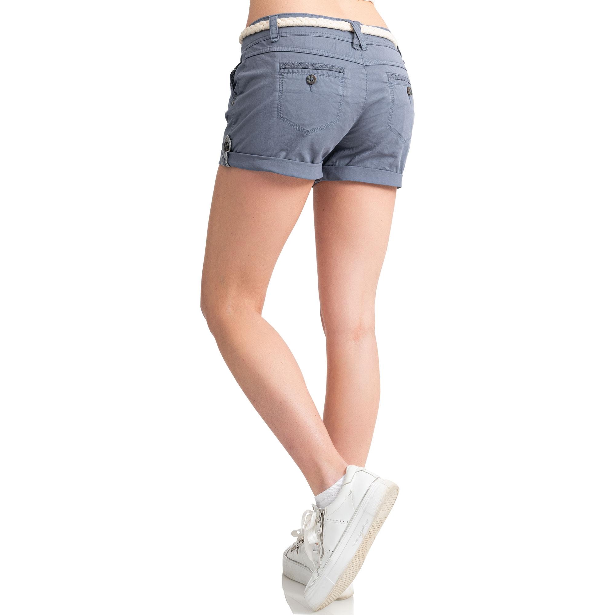 Indexbild 8 - Eight2Nine Damen Chino Bermuda Stretch Shorts mit Flecht Gürtel Hotpants