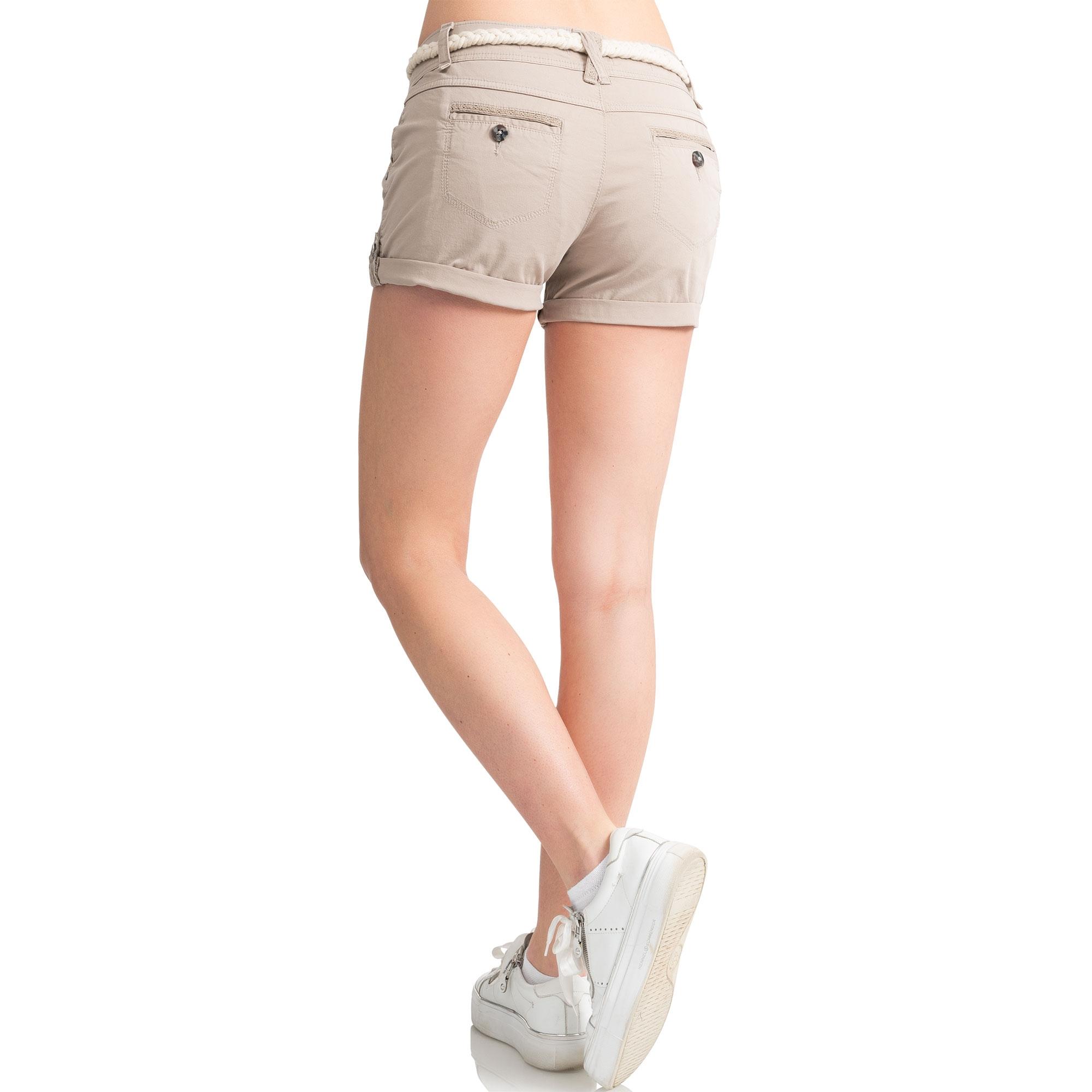 Indexbild 28 - Eight2Nine Damen Chino Bermuda Stretch Shorts mit Flecht Gürtel Hotpants
