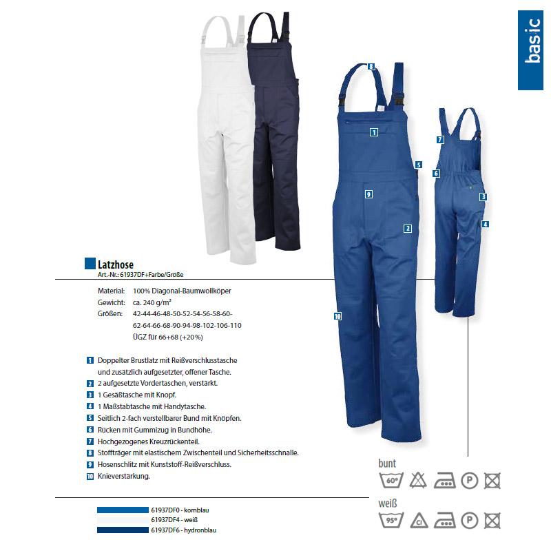Qualitex Latzhose-Basic 100/% CO 240 G//M/²