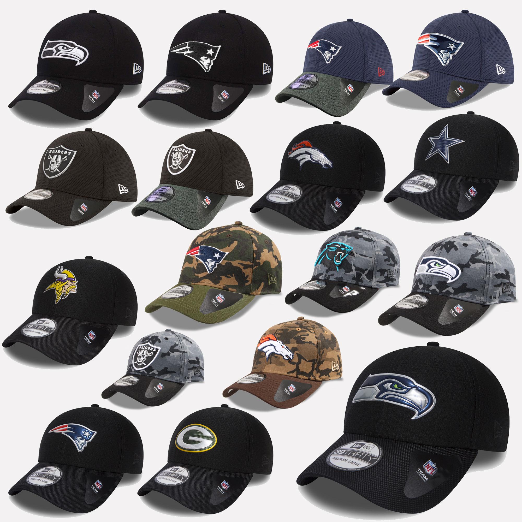 New Era Cap 39thirty NFL Black Shadow Seahawks Patriots Raiders ... 1e0fd755a