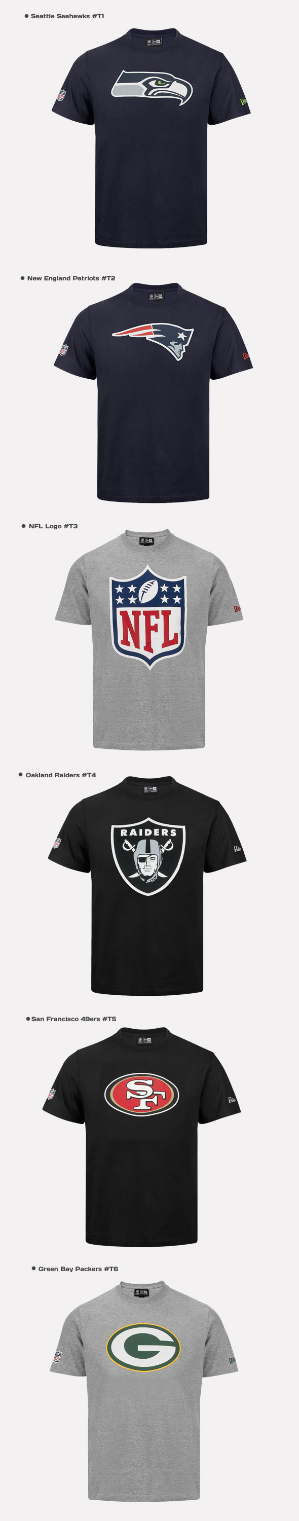 f4bcefecde New Era T-Shirt NFL Football Jersey Seattle Seahwaks Patriots Bears ...