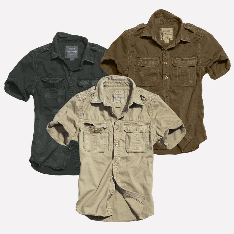 Details about Surplus 12 US Raw Vintage Shirt Shirt Short Sleeve Washed Military Army Mens S XXL show original title