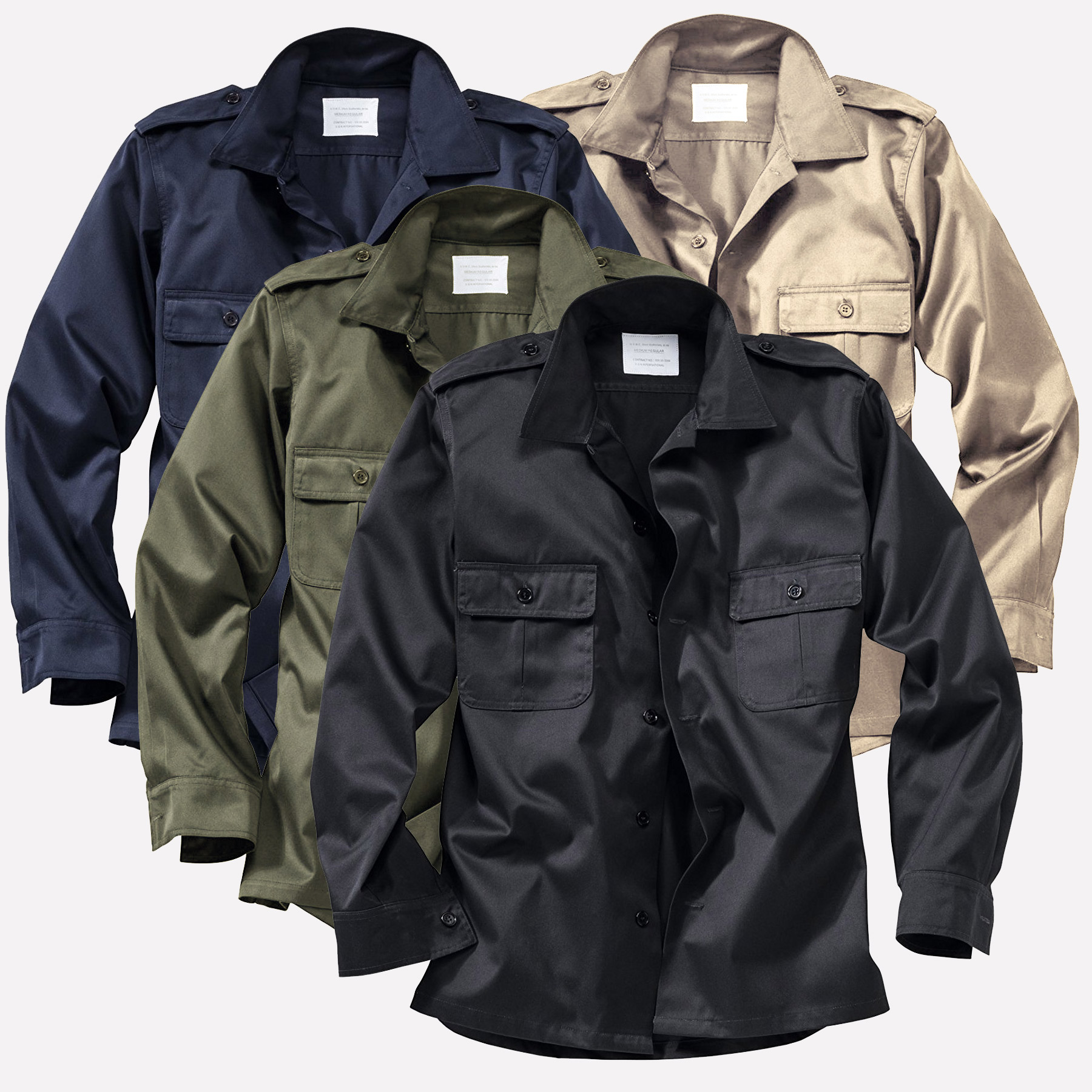 Details about Surplus Raw Vintage m65 US Ranger Army Military Shirt Security Worker Shirt 11arm show original title
