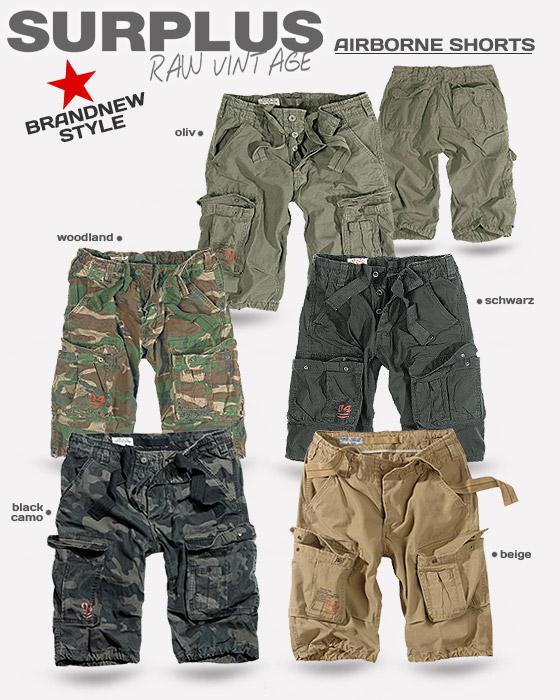 La Notte Camo Surplus Airborne al Ginocchio Pantaloncini dell/'Esercito