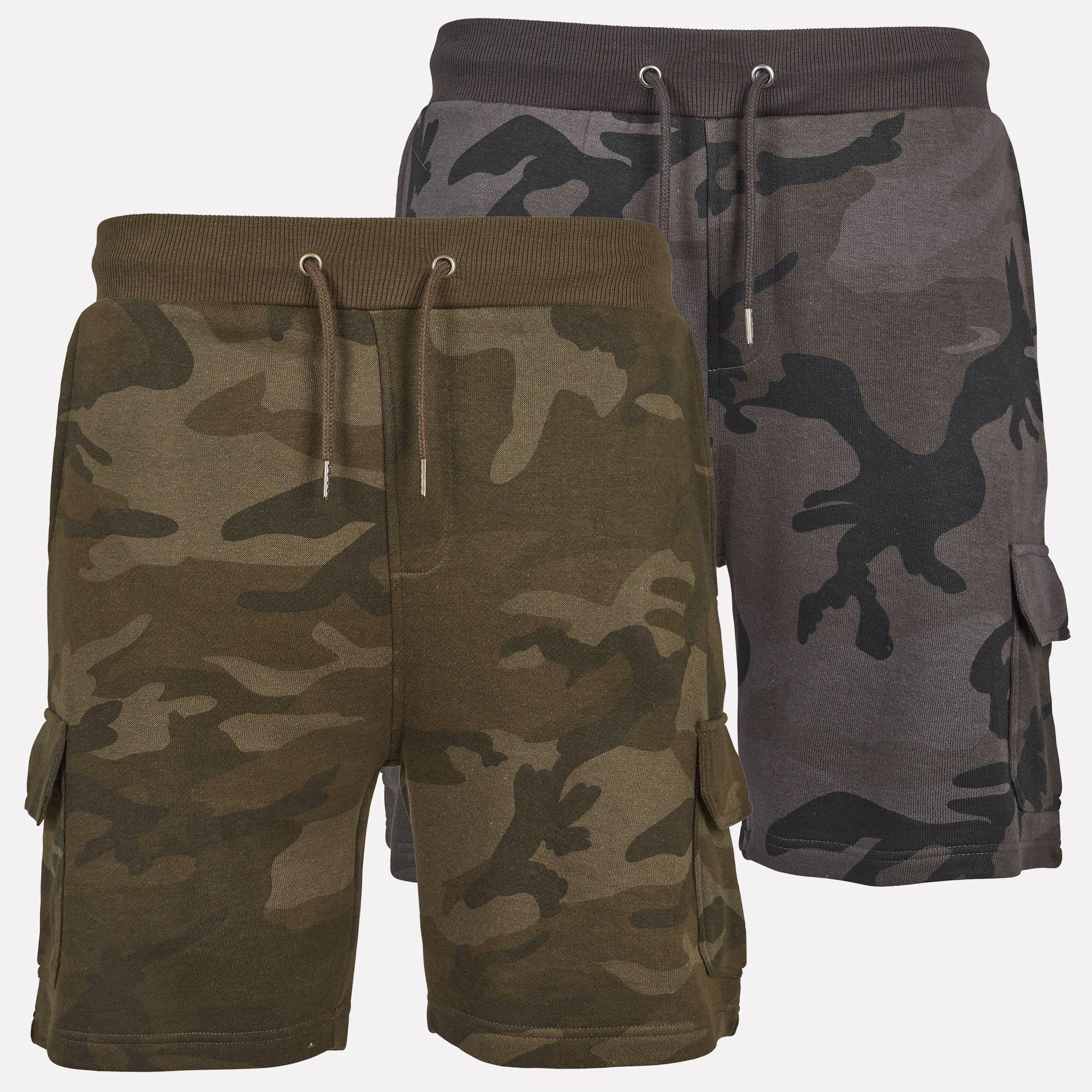 Urban Classics Herren Cargo Camo Sweatshorts Terry kurze Hose Bermuda Pants