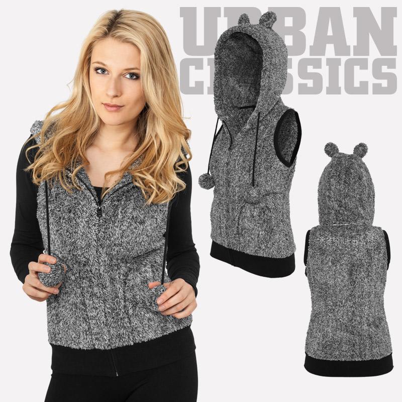 53af4db7b3 Urban Classics™ Damen Melange Teddy Weste Zipper Öhrchen Fleece ...