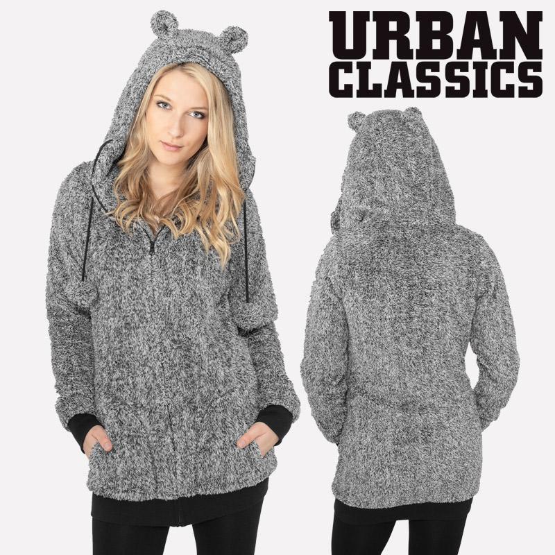 db99ea10ac Urban Classics™ Damen Teddy Melange Zip Hoodie mit Ohren Hoody Jacke ...